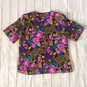 80s Vintage Floral Semi Sheer Button Up Shirt